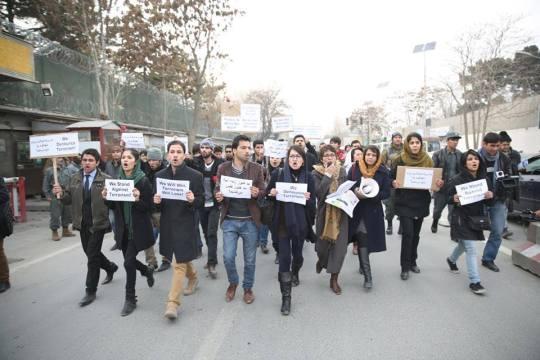 راهپیمایی جوانان درکابل