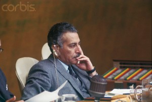 27 Sep 1966 --- Original caption: Newly elected President of the General Assembly of the United Nations, Abdul Rahman Pazhwak of Afghanistan is shown as he presides over Assembly's meeting. --- Image by © Bettmann/CORBIS
