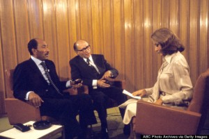 ABC NEWS - 11/20/77 BARBARA WALTERS arranged a joint interview with Egypt's President ANWAR SADAT and Israel's Prime Minister MENACHEM BEGIN for ABC News airing on the ABC Television Network. (Photo by ABC Photo Archives via Getty Images) ANWAR SADAT, MENACHEM BEGIN, BARBARA WALTERS